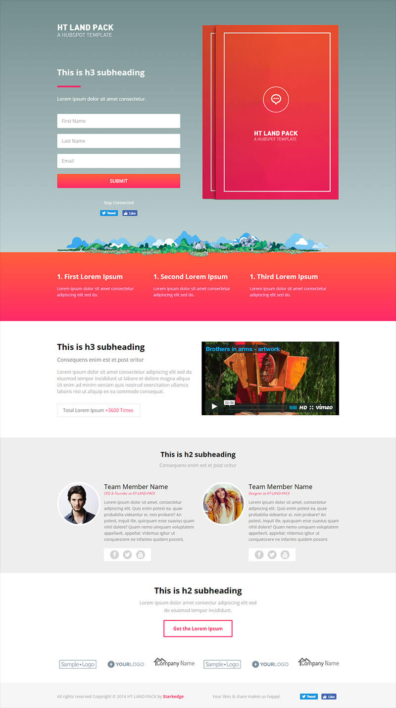 About This Template Live Demo HT Land EBook Landing Page